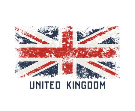 Projekt koszulki i odzieży z Wielkiej Brytanii z efektem grunge.
