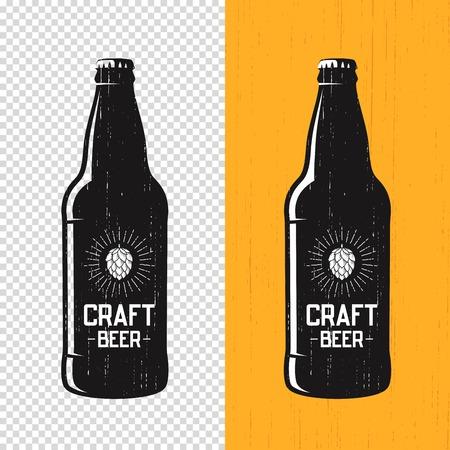 Textured craft beer bottle label design. Vector logo, emblem, typography Vectores