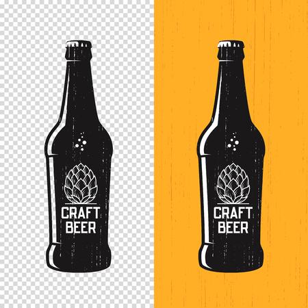 Textured craft beer bottle label design. Vector logo, emblem, typography Иллюстрация