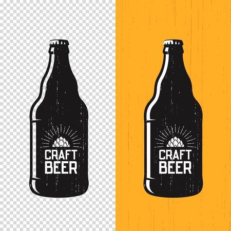 Textured craft beer bottle label design. Vector logo, emblem, ty
