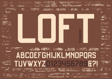 Loft condensed sans serif typeface design. Vector alphabet, lett
