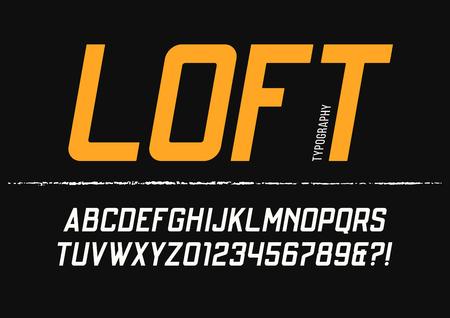 로프트 응축 된 산세 리프 서체 디자인. 벡터 알파벳, 레터링