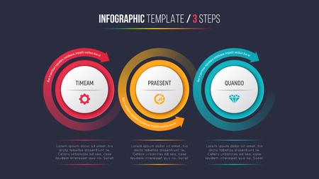 Trois étapes infographie diagramme graphique avec des flèches circulaires Banque d'images - 90472709