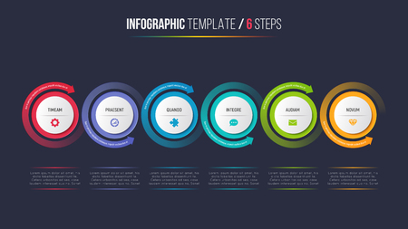 Six steps infographic process chart with circular arrows. Illustration