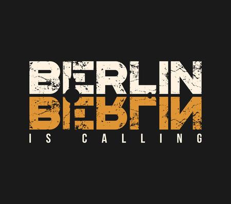 Berlijn roept t-shirt en kledingontwerp met grungeeffect.