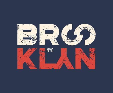 Brooklyn nyc t-shirt and apparel design with grunge effect. Çizim