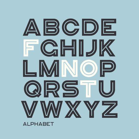 Heavy sans serif typeface design. Vector alphabet, letters, font Çizim