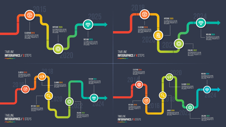 Three-six steps timeline or milestone infographic charts. Ilustrace
