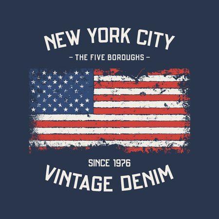 NYC the five boroughs t-shirt and apparel design with grunge eff