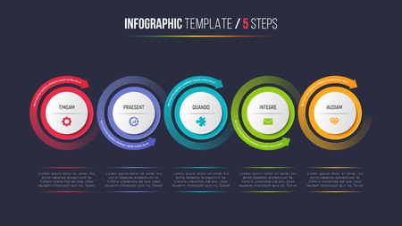Five steps infographic process chart with circular arrows.