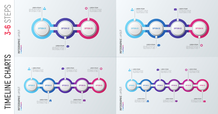 Infographic timeline charts. 3-6 options vector templates. Ilustrace