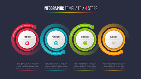Infographic Prozessdiagramm mit vier Schritten mit Kreispfeilen. Standard-Bild - 90472722