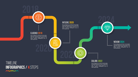 Four steps timeline or milestone infographic chart.