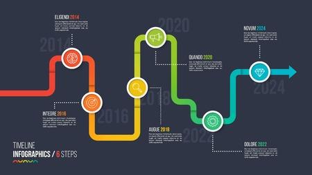 Zes stappen tijdlijn of mijlpaal infographic grafiek. Stock Illustratie