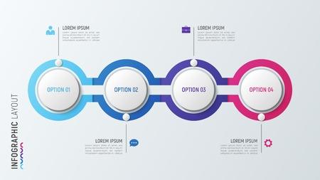 Cztery kroki plansza wykres procesu. 4 opcje szablon wektora. Ilustracje wektorowe