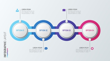 Infographic process chart in vier stappen. 4 opties vectormalplaatje.
