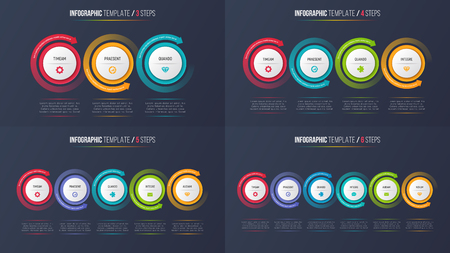 Three-six steps infographic process charts with circular arrows.
