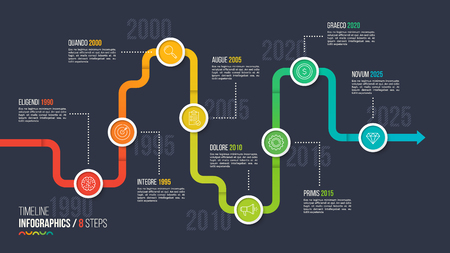 Eight steps timeline or milestone infographic chart. 向量圖像