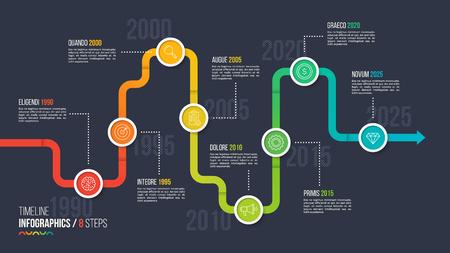 Eight steps timeline or milestone infographic chart. Çizim