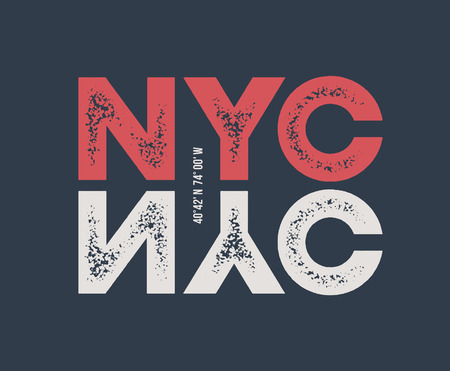 NYC t-shirt and apparel design with textured lettering. Illustration