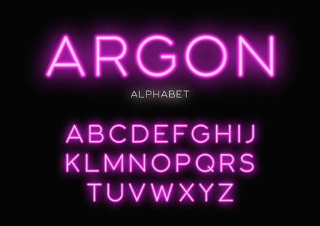 Glowing neon typeface design. Vector alphabet, letters, font, ty Vectores