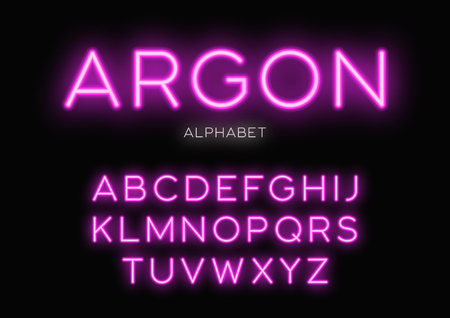 Glowing neon typeface design. Vector alphabet, letters, font, ty Illustration