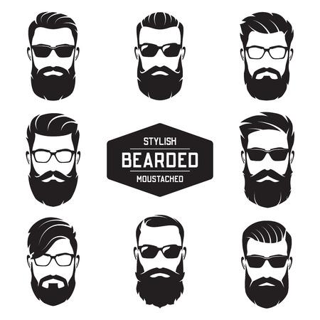 Conjunto de vectores varias caras de hombres barbudos. Foto de archivo - 90908328