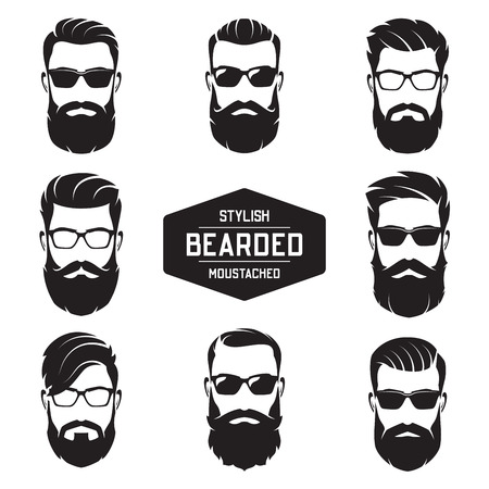 Set of vector various bearded men faces.
