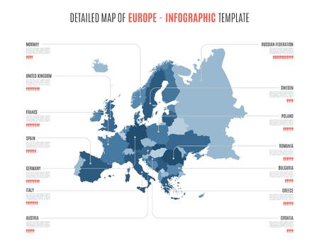 ヨーロッパの詳細な地図。インフォグラフィック用のベクター テンプレート。  イラスト・ベクター素材