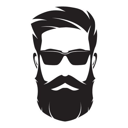 Brodaty mężczyzna twarz, postać hipster. Sylwetka moda, avata