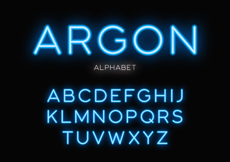 Glowing neon typeface design. Vector alphabet, letters, font, ty  イラスト・ベクター素材