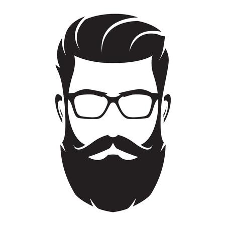 Volto dell'uomo barbuto, carattere hipster. Silhouette di moda, avata