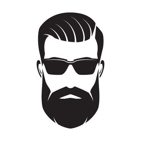 Twarz brodatego mężczyzny, hipsterski charakter. Moda sylwetka, awatara