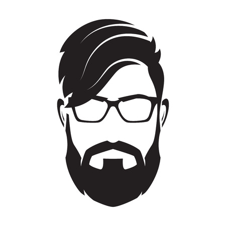 Bearded man s face, hipster character. Fashion silhouette, avata