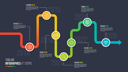 Seven steps timeline or milestone infographic chart. Illustration