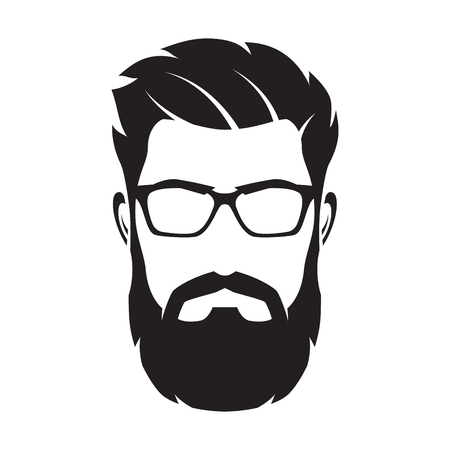 Bebaarde man gezicht, hipster karakter. Mode silhouet, avata