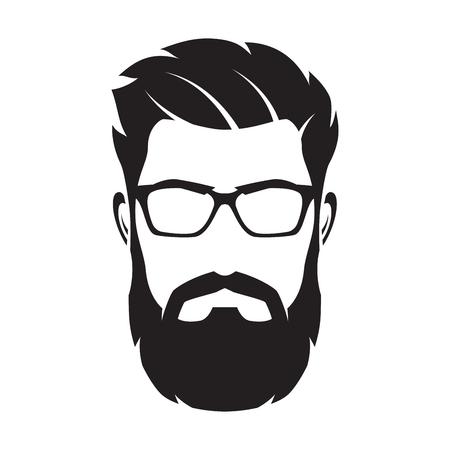 Visage d'homme barbu, personnage de hipster. Silhouette de mode, avata