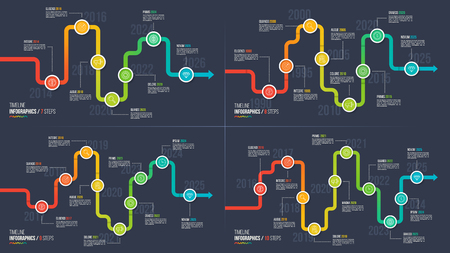 Seven-ten steps timeline or milestone infographic charts. Vectores