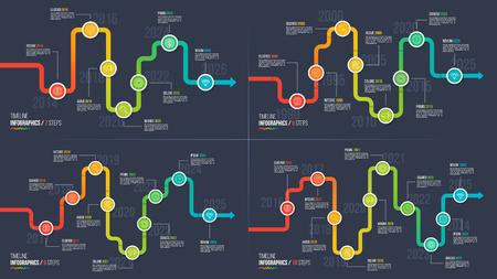 Seven-ten steps timeline or milestone infographic charts. Vettoriali