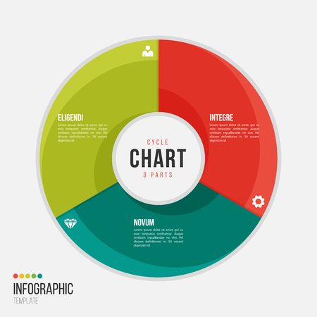 Cycle chart infographic template with 3 parts, options, steps for presentations, advertising, layouts, annual reports.