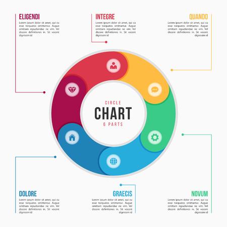 6 부분, 프로세스, 프레젠테이션, 광고, 레이아웃, 연간 보고서에 대한 단계가있는 원형 차트 infographic 템플릿. 벡터 일러스트 레이 션 스톡 콘텐츠 - 91336119