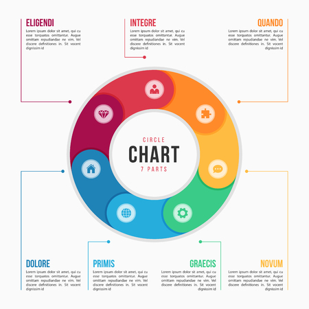 7 부분, 프로세스, 프레젠테이션, 광고, 레이아웃, 연간 보고서에 대한 단계가있는 원형 차트 infographic 템플릿. 벡터 일러스트 레이 션