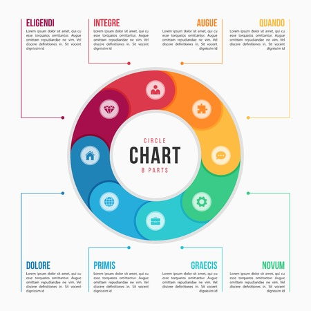Circle chart infographic template with 8 parts, processes, steps for presentations, advertising, layouts, annual reports. Vector illustration 일러스트