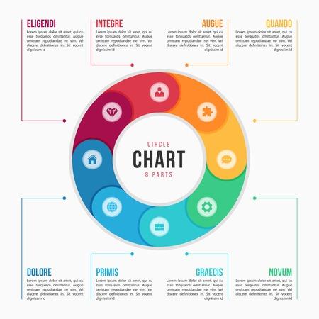 Modèle d'infographie graphique en cercle avec 8 parties, processus, étapes pour les présentations, publicité, mises en page, rapports annuels. Illustration vectorielle Banque d'images - 91336109