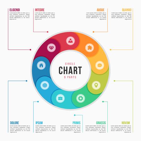 9 부분, 프로세스, 프레젠테이션, 광고, 레이아웃, 연간 보고서에 대한 단계가있는 원형 차트 infographic 템플릿. 벡터 일러스트 레이 션