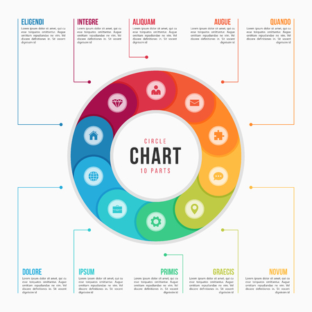 Cirkeldiagram infographic sjabloon met 10 delen, processen, stappen voor presentaties, advertenties, lay-outs, jaarverslagen. Vector illustratie