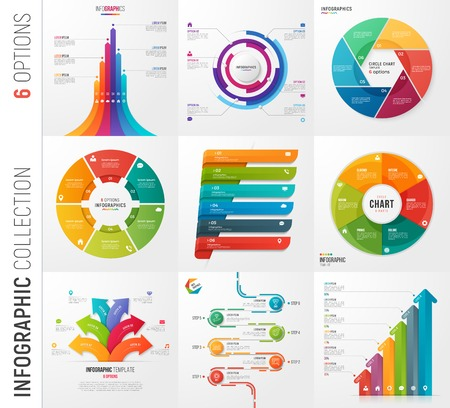 Infographic collection of 6 options vector templates for present Stock Illustratie