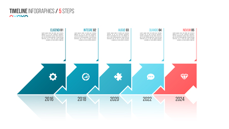 Arrows shaped timeline infographic template. 5 steps, options, p