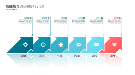 Arrows shaped timeline infographic template. 6 steps, options, p