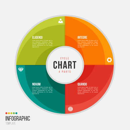 Cycle chart infographic template with 4 parts, options, steps for presentations, advertising, layouts, annual reports